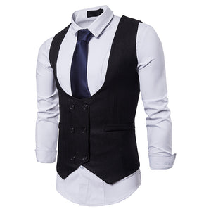 U Neck Double Breasted Suit Vest Waistcoat
