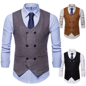 Men's V-neck Double-breasted Suit Vest Waistcoat