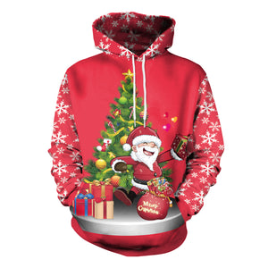 Christmas Printed Loose Hooded Sweatshirt