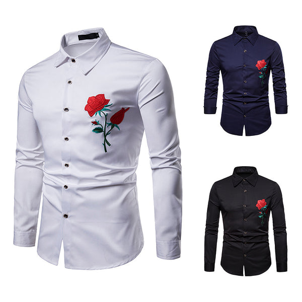 Men's Casual Business Rose Embroidered Lapel Long Sleeve Shirt