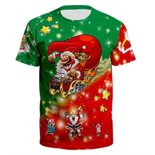 Funny Santa Claus Ugly Christmas Print Short Sleeve T-Shirt Tees Tops For Men Women