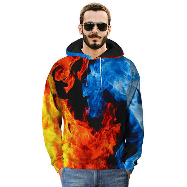 Two-color Flame 3D Printing Hooded Loose Sweatshirt