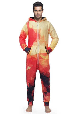 Gradient Geometric Print One Piece Jumpsuit Union Suit Onesies Pajamas Coveralls