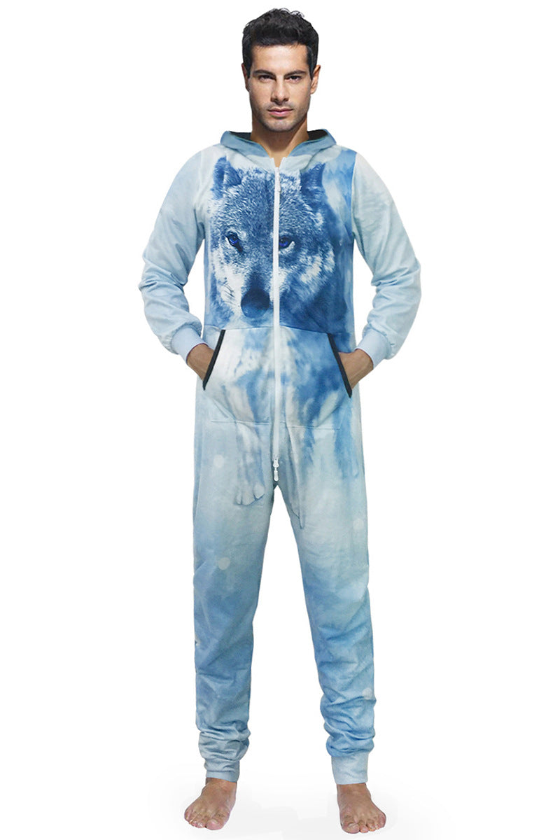 3D Snow Wolf Print Long Sleeve Hooded Home One Piece Jumpsuit Union Suit Onesies Pajamas