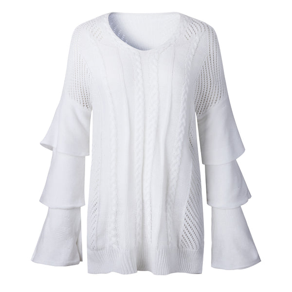 V-neck Hollowed Out Irregular Long-sleeved Women's Sweater