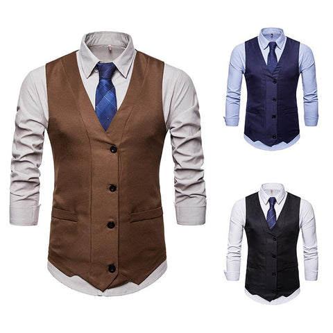 Men's V-neck Single Breasted Design Suit Vest Waistcoat
