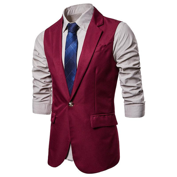 Men's Long One-Button Suit Vest Waistcoat