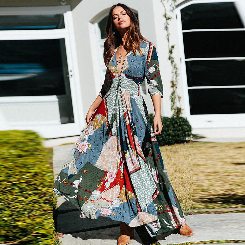 Fashion Bohemian V-neck Long Sleeve Button Long Dress Women Flowy Large Swing Boho Maxi Dress