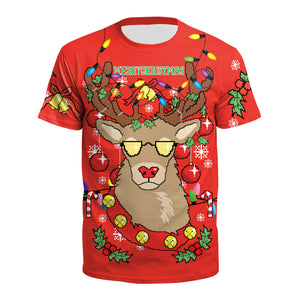 Funny Reindeer Ugly Christmas Round Neck Women Christmas Print T-Shirt Tees Tops