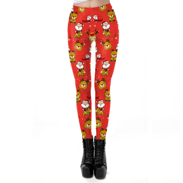 Santa Reindeer Print Slim-fit Christmas Leggings