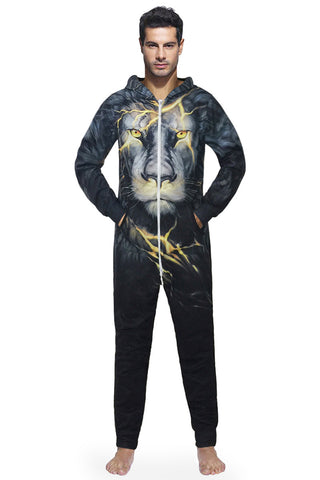 3D Lightning Lion Print Men Home One Piece Jumpsuit Union Suit Onesies Coveralls Pajamas