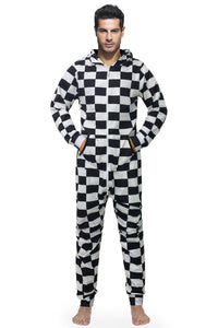 Classic Black and White Checkered Hooded Jumpsuit