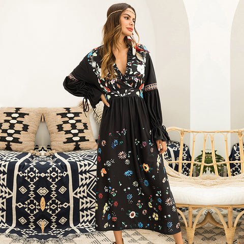 Flare Long Sleeve Black Floral Print Maxi Ruffle Sexy Boho Dress