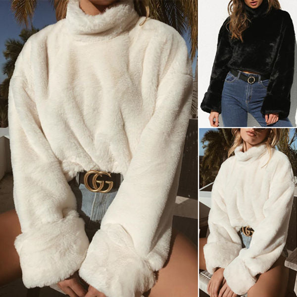 Stylish Solid Color Fluffy Top
