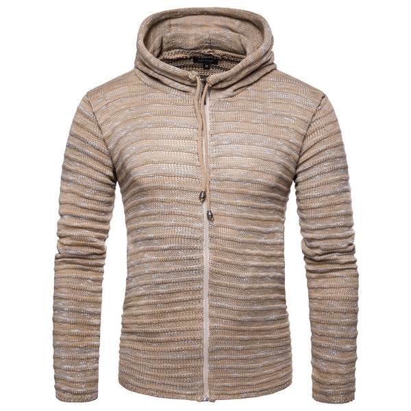 Solid Color Zipper Hoodie Sweater