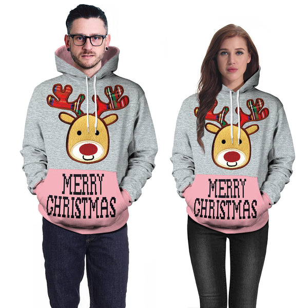 Christmas Cartoon Printed Hooded Sweatshirt