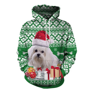 Christmas Dog Printed Hooded Sweatshirt