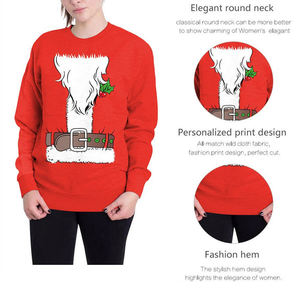 Christmas Digital Print Round Neck T-shirt Tops