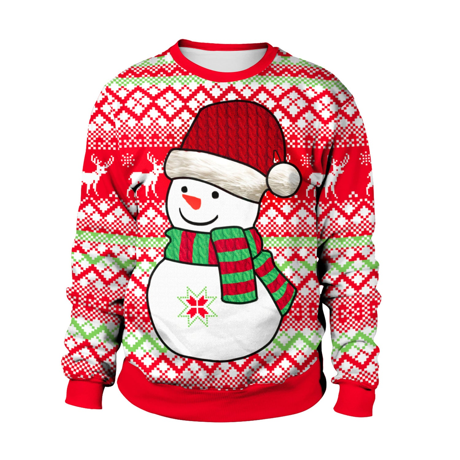 Christmas Snowman Print Round Neck Long Sleeve Sweatshirt Sweater For Women