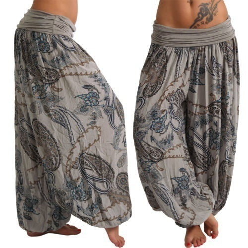 Printed Long Wide Leg Pants Casual Pants
