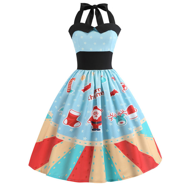Christmas Printed Halter Sleeveless Evening Party Prom Xmas Dress