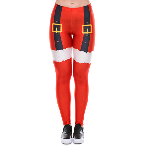 Christmas Print Slim Leggings Sport Pants