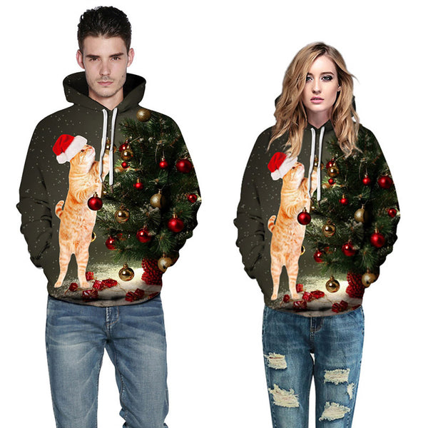 Cat Print Long Sleeve Pullover Christmas Hoodie Sweatshirt