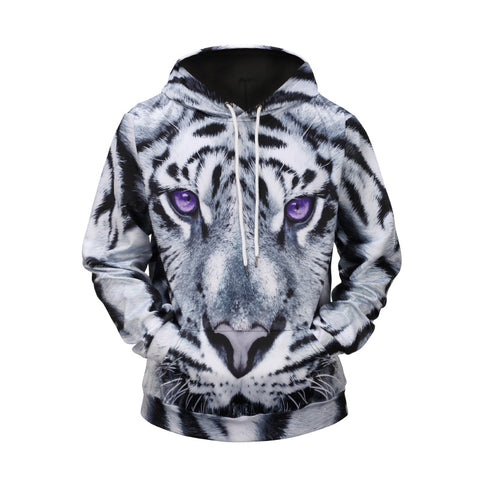 White Tiger Printed Hooded Loose Sweatshirt