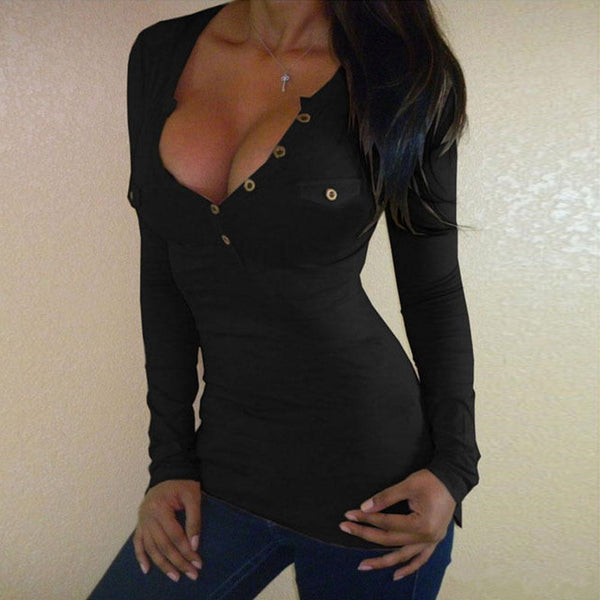 Large Size Sexy Button V-neck Long-sleeved T-shirt