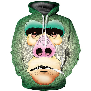 Orangutan Printed Hooded Loose Hoodies Sweatshirt