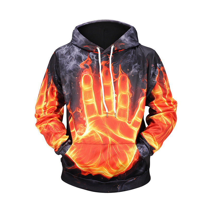 3D Flame Palm Print Hooded Loose Sweatshirt