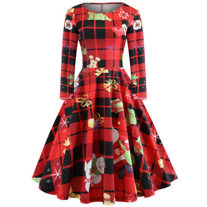 Hepburn Style Christmas Print Retro Dress