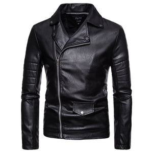 Men's Slim Casual Black Zipper PU Leather Jacket