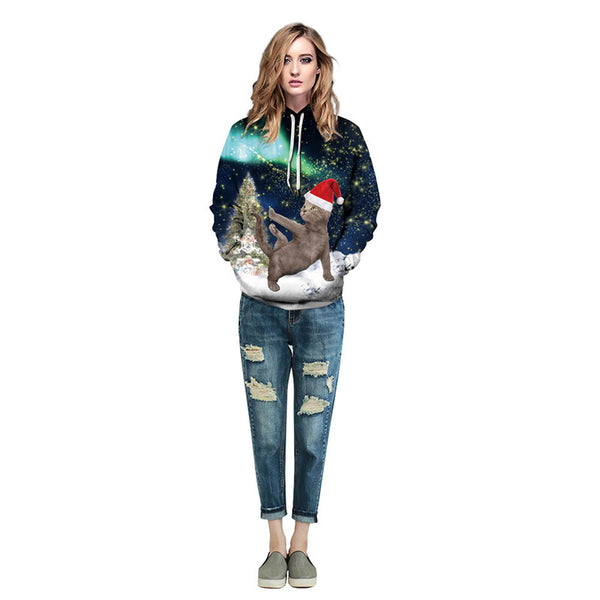 Cat Print Pullover Sports Christmas Sweatshirt