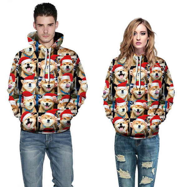 Funny Dog Print Long Sleeve Hoodie Sports Christmas Sweater Sweatshirt For Men Women