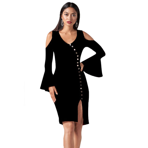 V-neck Off Shoulder Long Sleeve Button Decorative Split Slim dress