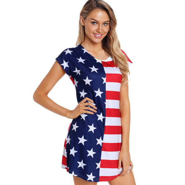 Flag Printed Round Neck Short Sleeve High Waist Dress