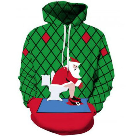 Funny Ugly Christmas Santa Claus Printed Sweater Large Size Hoodie Sweatshirt For Men Women