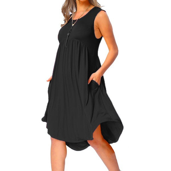 Summer Plain O-neck Pocket Ruffles Sleeveless Loose Dress