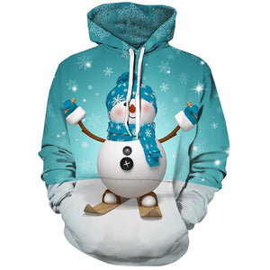 Christmas Kangaroo Pocket Snowman Printed Hoodie Ugly Sweater Sweatshirt Jacket For Men Women