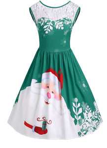 Lace Insert Santa Claus Print Party Christmas Dress