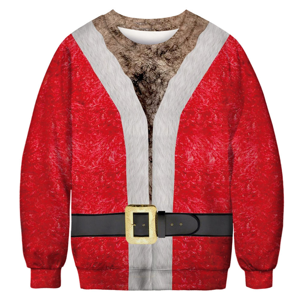 Funny Chest Hair and Belt Print Ugly Christmas Long Sleeve Sweatshirt Sweater