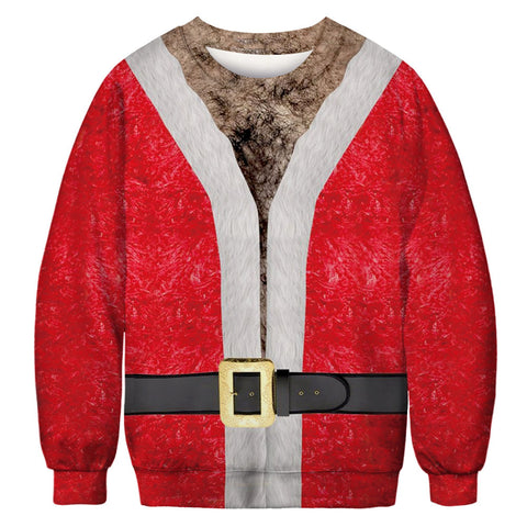 Funny Chest Hair and Belt Print Ugly Christmas Men Long Sleeve Sweatshirt Sweater