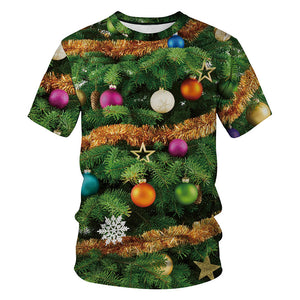 Christmas Lights Tree Print Funny Ugly Christmas Men Short Sleeve T-Shirt Tees Tops