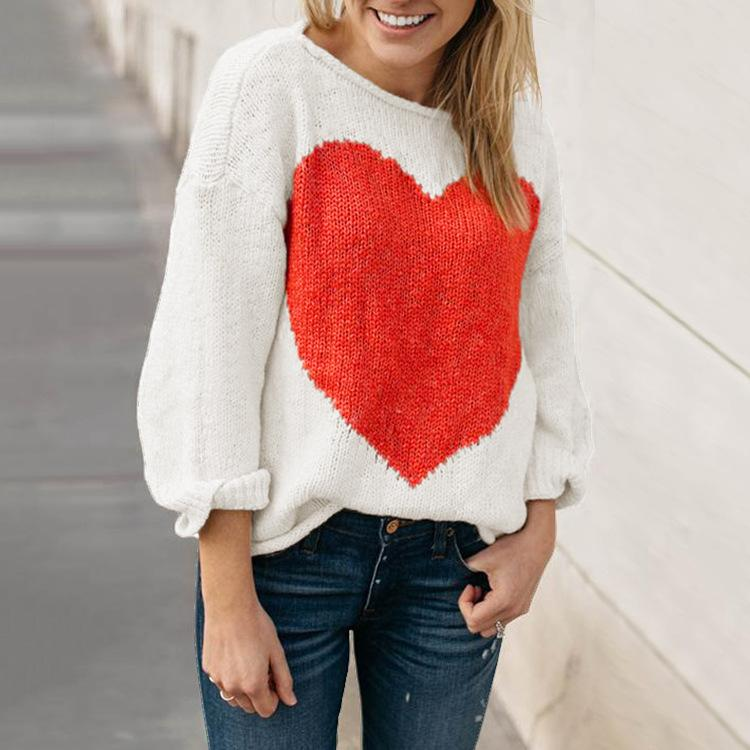 Long Sleeve Crew Neck Casual Intarsia Knitted Sweater