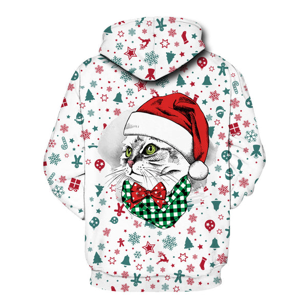 Funny Reindeer Printed Christmas Long Sleeve Hoodie Sweatshirt Jackets For Men Women