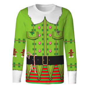 Funny Long Sleeve Christmas Tree Print T-Shirt