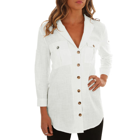 Solid Color Lapel Single-row Button Long Sleeve Shirt