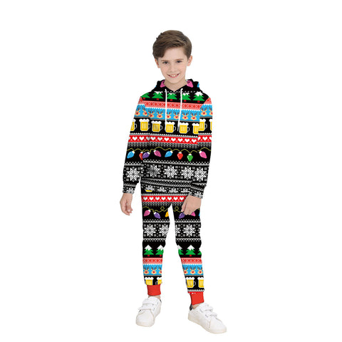 Kid Funny Ugly Christmas Print Children Boys Pullover Hoodie Sweatshirts and Pants Two Pieces Set Pajamas Outfit