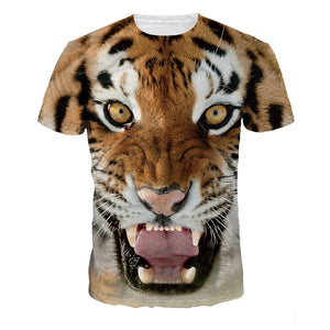 Tiger Print Casual Sleeve Short Sleeve T-shirt